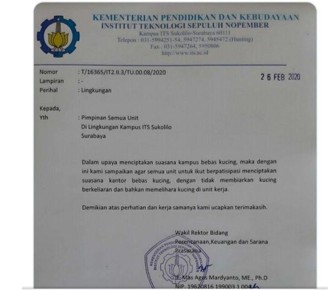 ITS Surabaya Mendadak Viral Di Medsos Gegara Kucing, Lah?