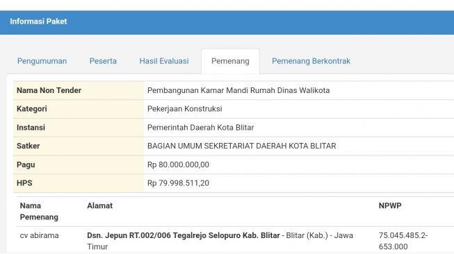 Telan Rp80 Juta, Kamar Mandi Rumdin Wali Kota Blitar Disorot