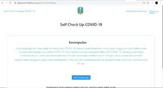 Contoh hasil chek up Covid-19 dengan metode self assesment. (checkupcovid19.jatimprov.go.id)