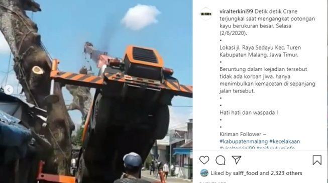 Viral Video Crane Terjungkal Saat Angkat Potongan Pohon di Malang
