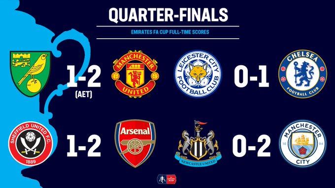 Semifinal Piala FA: Manchester United vs Chelsea, Manchester City vs Arsenal