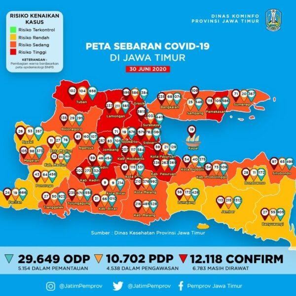 13 Daerah di Jawa Timur Masih Berstatus Zona Merah