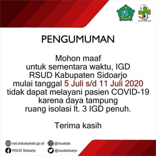 RSUD Sidoarjo Tak Terima Pasien Covid-19 Hingga 11 Juli