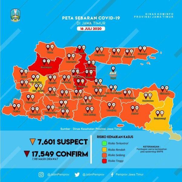 Update Covid-19 Jatim! Total Kasus 17.549, Sembuh Lebih dari 8.000