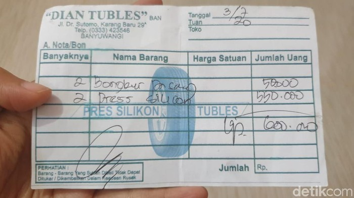 Piye Perasaanmu Ditarik Ongkos Tambal Ban Rp600.000, Terjadi di Banyuwangi