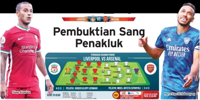 Liverpool vs Arsenal: Ajang Pembuktian The Gunners