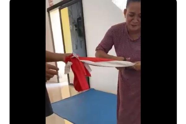 Akhirnya Ditahan, Emak-Emak Gunting Bendera Merah Putih Terancam 5 Tahun Penjara