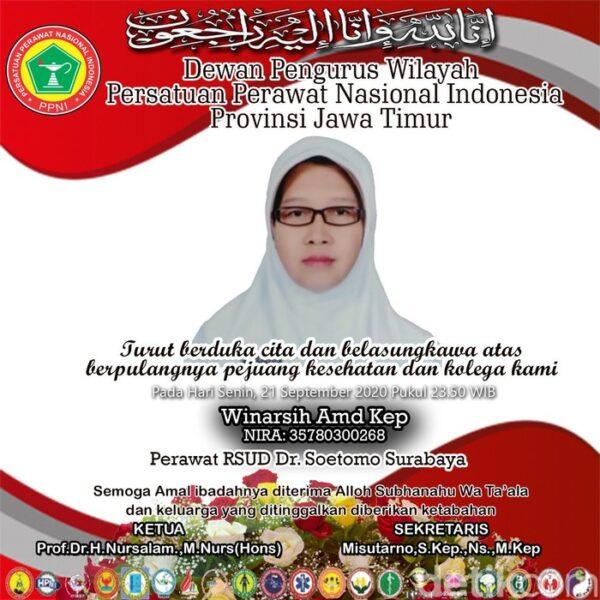 Perawat RSU dr Soetomo Surabaya Meninggal Akibat Corona