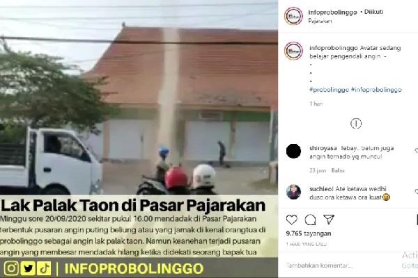 Ada Puting Beliung Muncul di Probolinggo Malah Jadi Tontonan