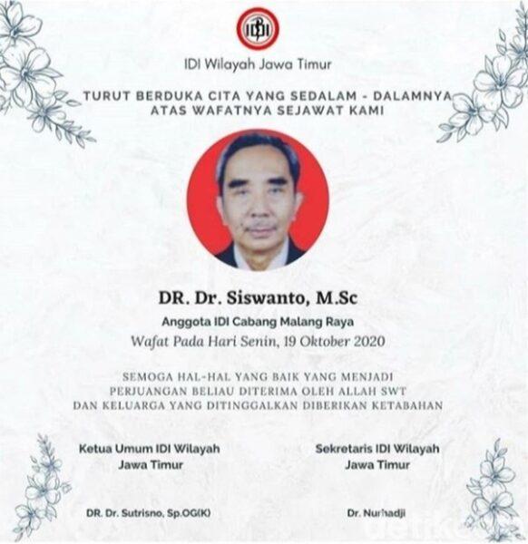 Innalillahi...Dokter di Malang Meninggal setelah 5 Hari Berjuang Melawan Covid-19