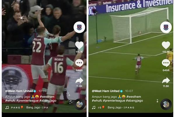 Viral West Ham United Pakai Lagu Ampun Bang Jago, TikTokers Heboh