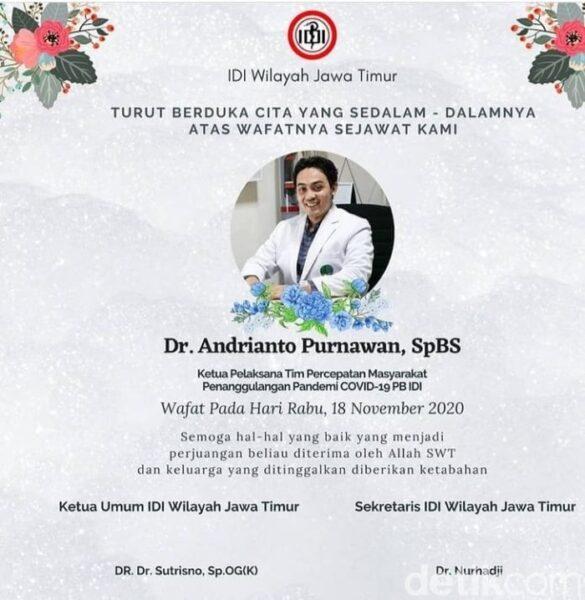 Lagi, Dokter RSU dr. Soetomo Surabaya Meninggal Positif Covid-19
