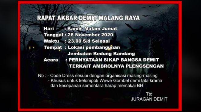 Hiii....Ada Undangan Rapat Demit di Malang, Mau Datang?