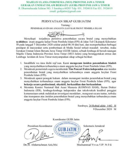 GUIB Jatim Desak Pemerintah Bentuk Tim Pencari Fakta Penembakan 6 Laskar FPI