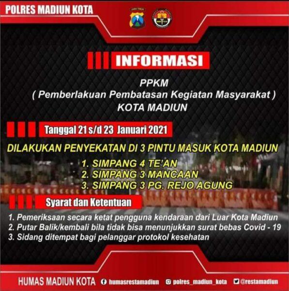 Masuk Kota Madiun, Warga Luar Kota Wajib Tunjukkan Surat Bebas Covid-19