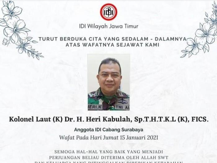 IDI Berduka Lagi, Dokter RSAL Surabaya Meninggal Terpapar Covid-19