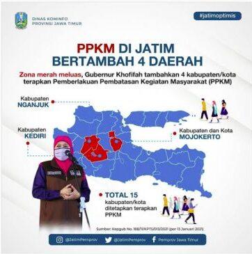 Zona Merah Bertambah, Gubernur Jatim Tambah 4 Daerah Terapkan PPKM
