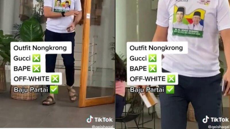 Viral Pemuda Nongkrong di Kafe Pakai Kaus Partai