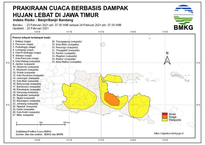BMKG: 7 Kabupaten/Kota di Jatim Siaga Banjir Bandang