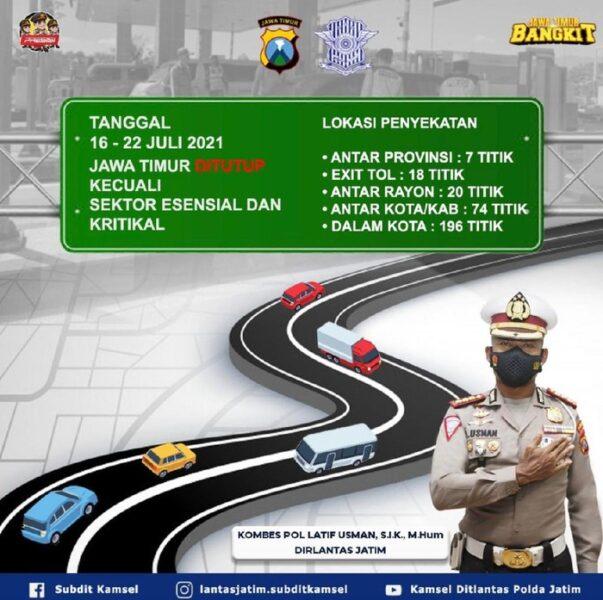Jelang Iduladha, Polisi Sekat dan Tutup 350 Titik Jalan di Jawa Timur
